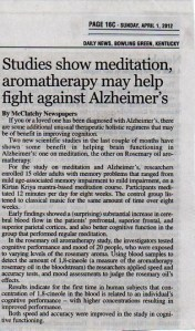 Studies show meditation, aromatherapy may help fight against Alzheimer's