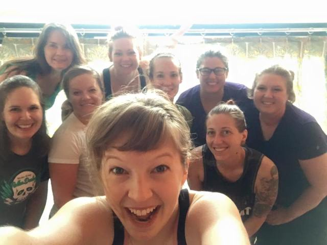 Sponsorship yoga class for Vette City Roller Derby women!