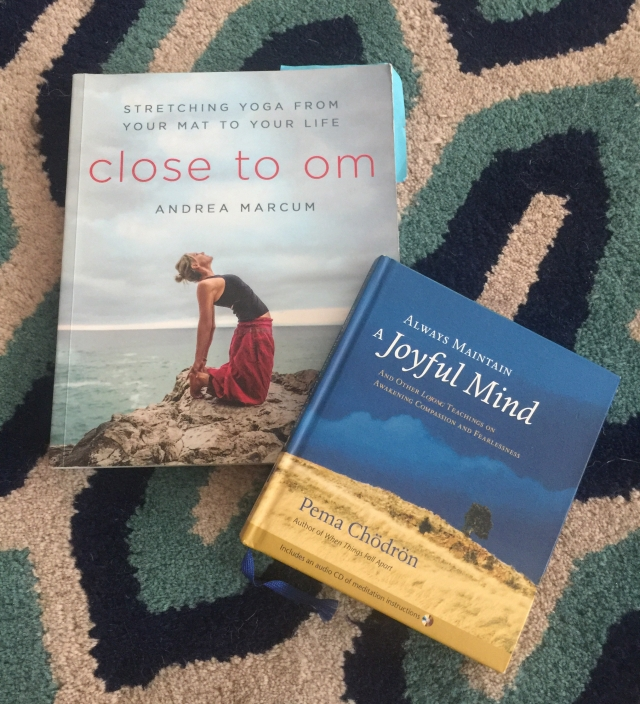 October's book club books:  Close to Om and Always Maintain a Joyful Mind.