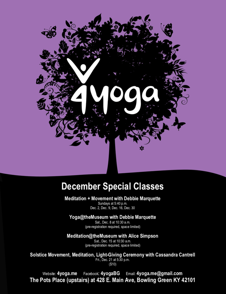 December 2018 focus and class schedule | 4yoga