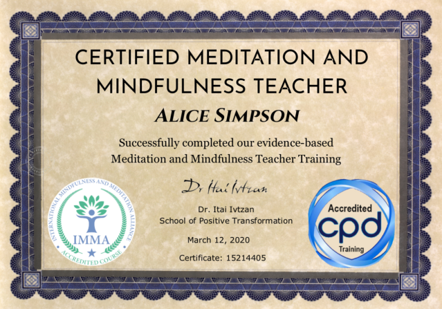 Alice Simpson's meditation certificate